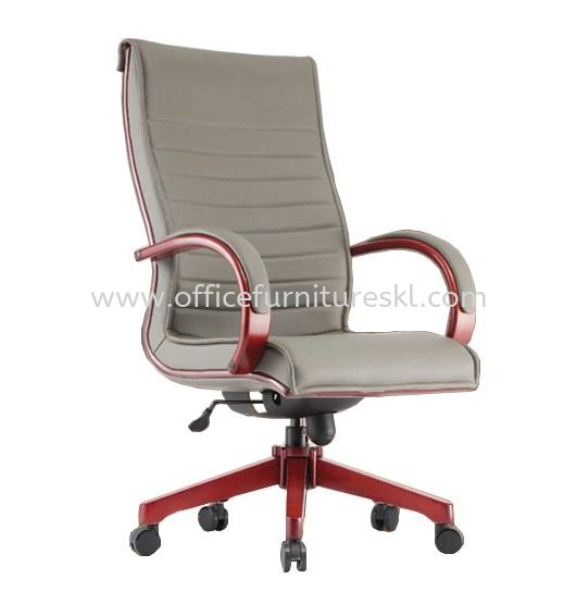 CANTARA 2B DIRECTOR HIGH BACK LEATHER CHAIR C/W WOODEN ROCKET BASE