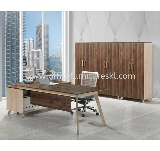 PAXIS EXECUTIVE DIRECTOR OFFICE TABLE C/W SIDE CABINET  - Top 10 Must Have Director Office Table | Director Office Table Segambut | Director Office Table Kelana Jaya | Director Office Table Oasis Ara Damansara