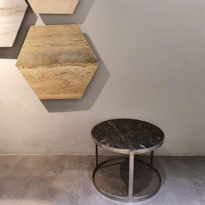 Round Marble Coffee Table- Dark Emperador