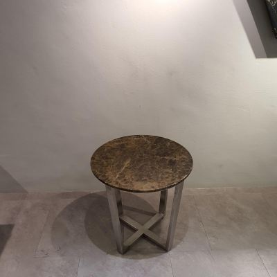 Round Marble Side Table - Dark Emperador