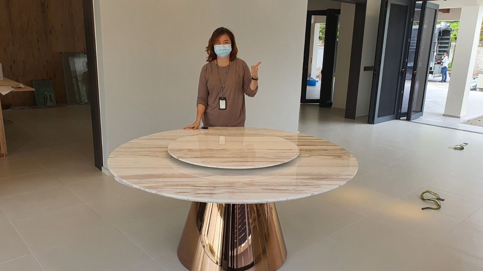 White Marble Dining Table - Volakas