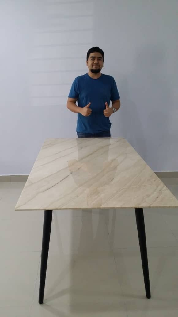 Beige Luxury Dining Table | 6 Seaters | Stain Free