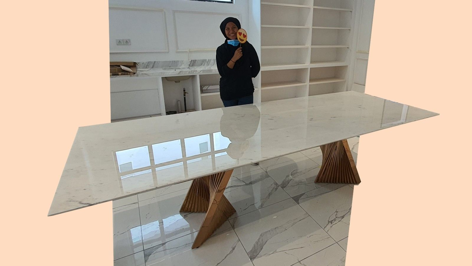 Luxury marble dining table | Sivec White 9ft | 10 Seaters