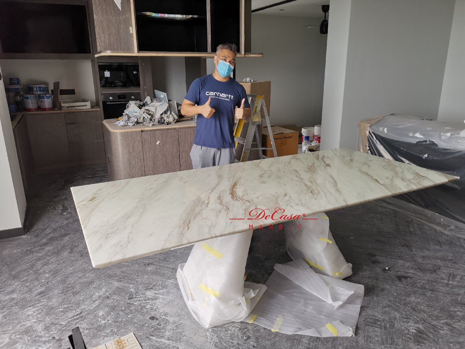 Luxury marble dining table | stain free | Volakas