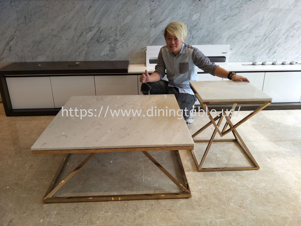 White Marble Coffee Table - Sivec White Marble