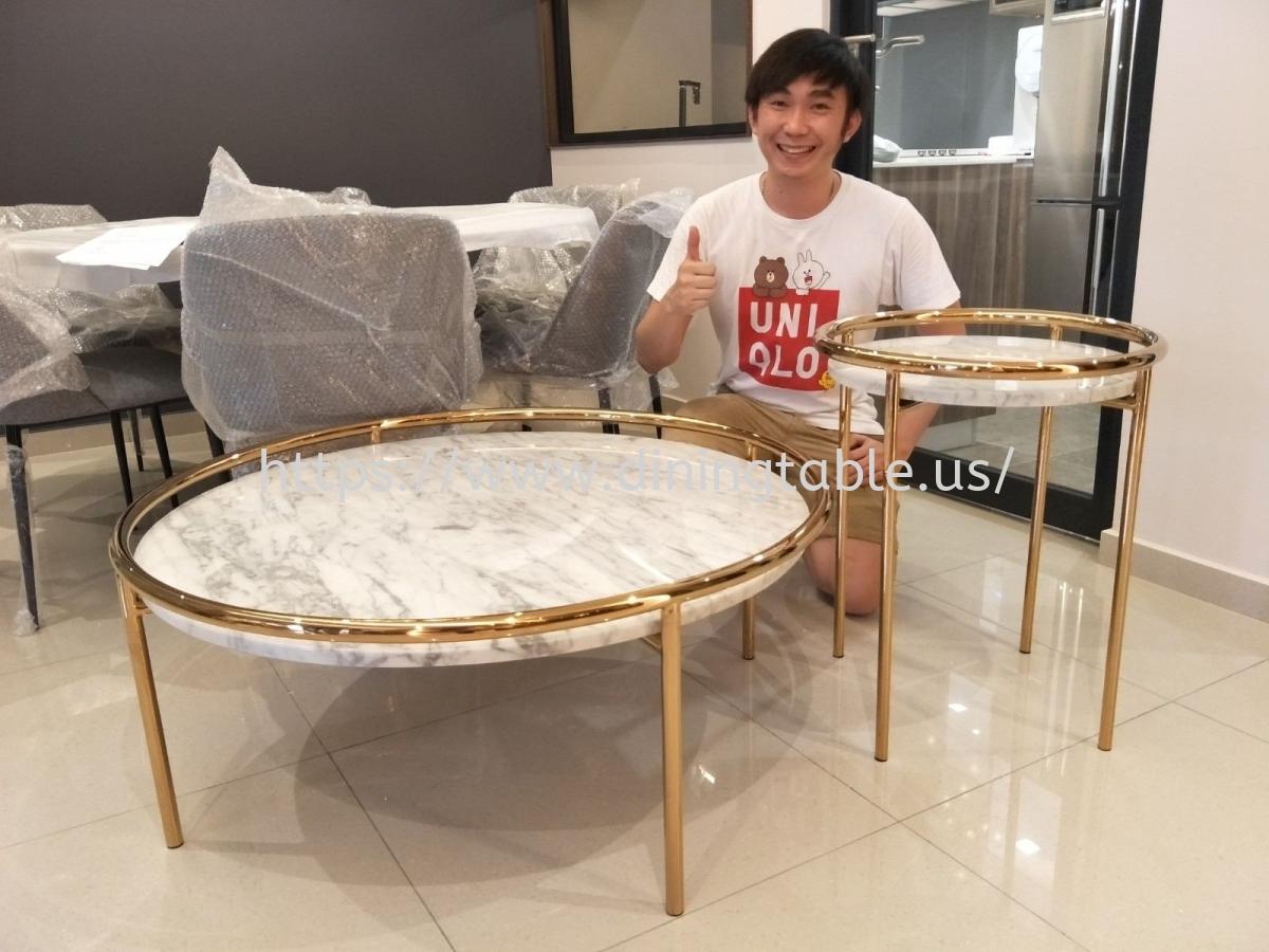 White Marble Coffee Table - Statuario Marble