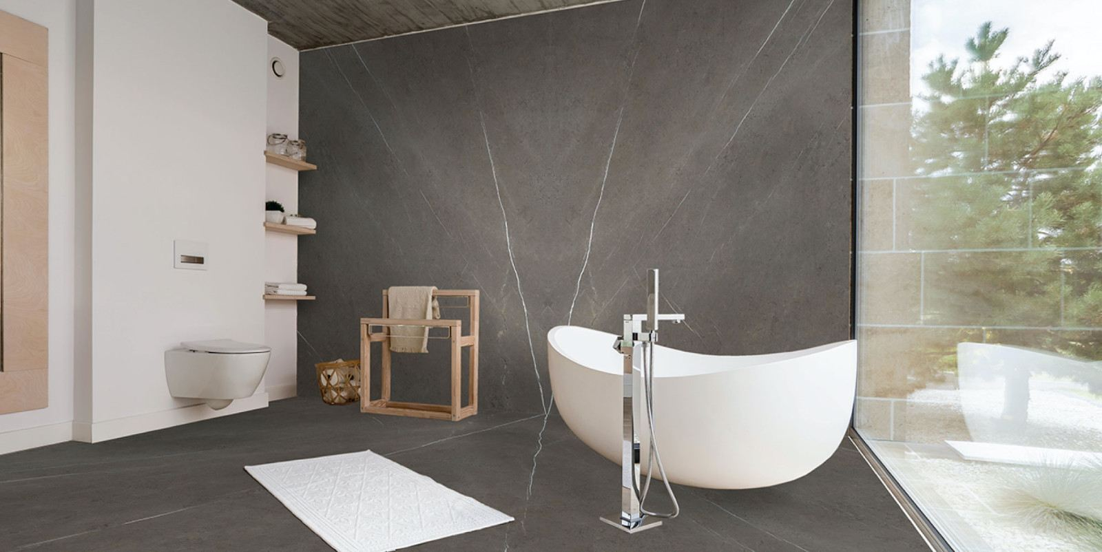 Pietra Grey Marble Feature Wall (Bookmatched)