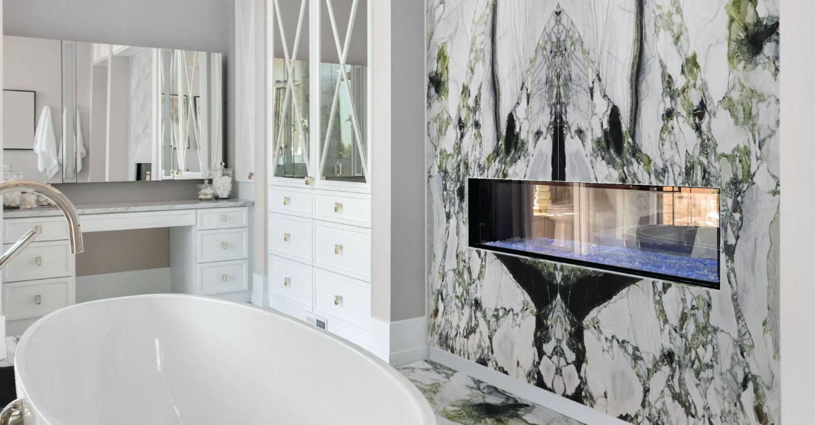 White Beauty Quartzite Feature Wall (Bookmatched)