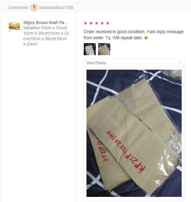 Customer feedback 50pcs Brown Kraft Paper Zipper Bag / Kraft Paper Zip Lock Bag (4 Sizes)