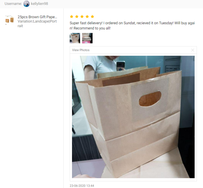 Customer Feedback for 25pcs Brown Gift Paper Bag with Handle
