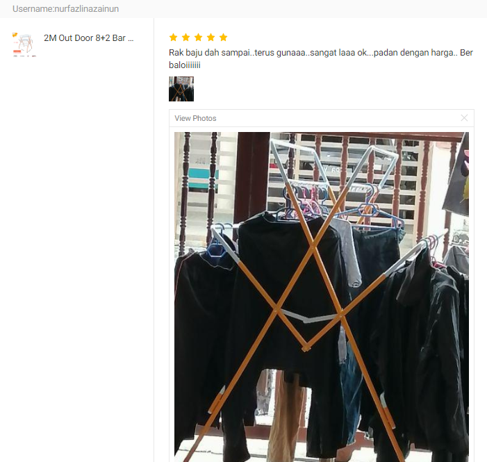 CUSTOMER FEEDBACK 2M Out Door 8 + 2 Bars Clothes Hanger Drying Rack