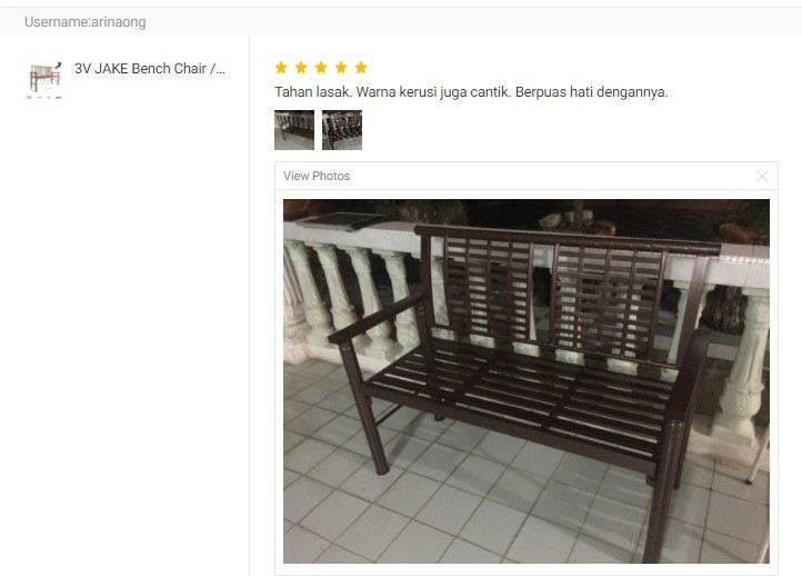 CUSTOMER FEEDBACK FOR 3V JAKE Bench Chair / Relax Chair With Arm Rest (Copper)