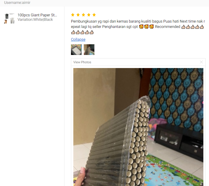 CUSTOMER FEEDBACK FOR 100pcs Giant Paper Straw / Jumbo Paper Straw / Bubble Tea Paper Straw