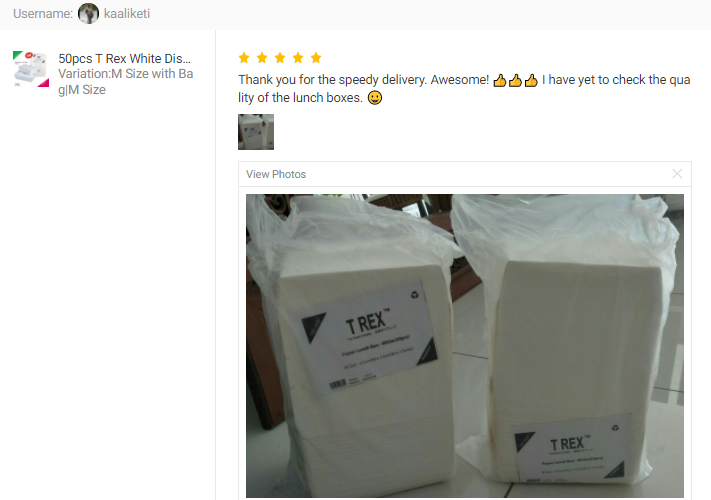 CUSTOMER FEEDBACK FOR 50pcs T Rex White Disposable Paper Lunch Box / Take Away Food Packaging Paper