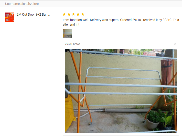 CUSTOMER FEEDBACK FOR 2M Out Door 8+2 Bar Clothes Hanger Drying Rack / Towel Hanger / Clothing Dryin