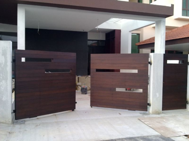 Main Gate Chengai Wood design Main Gate and Fencing Singapore Supplier, Supply, Supplies, Installation | TMA Technology System Pte Ltd