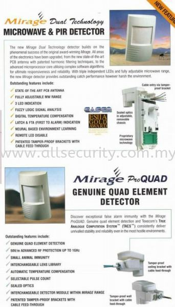 Mirage Dual Technology Texecom  防盗报警器   Manufacturer, Supplier, Supply, Supplies | AST Automation Pte Ltd