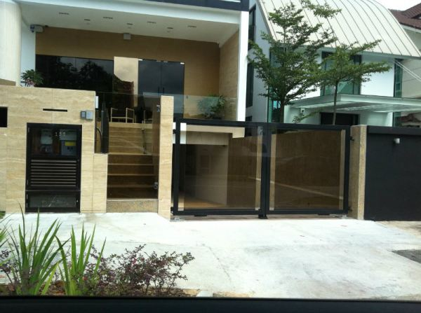 Main Gate Swing Type Tempered Glass Design. Main Gate and Fencing Singapore Supplier, Supply, Supplies, Installation   TMA Technology System Pte Ltd