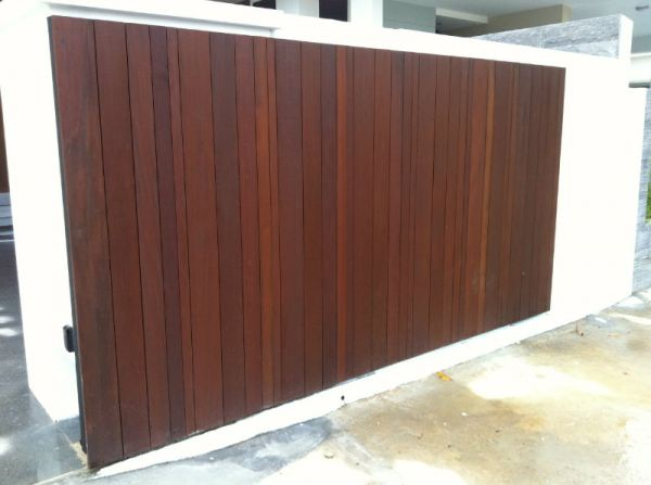 Main Sliding Gate Chengai Wood Design.8-10ft $3300. 10ft-15ft $3800. Main Gate and Fencing Singapore Supplier, Supply, Supplies, Installation | TMA Technology System Pte Ltd