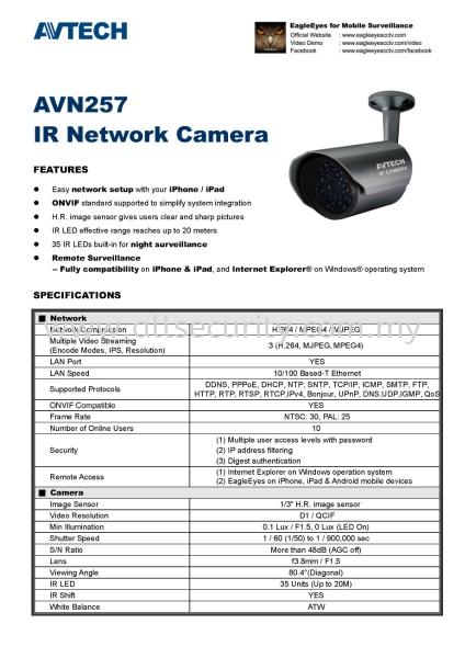 AVN257_spec_Page_1 IP CAMERA 闭路电视系统   Manufacturer, Supplier, Supply, Supplies | AST Automation Pte Ltd