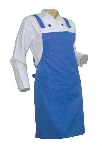 Blue & White Full Apron Ready Made Johor Bahru JB Malaysia Uniforms Manufacturer, Design & Supplier | Pan Uniform Manufacturing Sdn Bhd