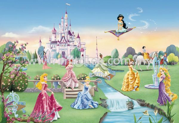8-414_Princess_Castle_k KOMAR- DISNEY Wallpaper (0.53m x 10m) Johor Bahru (JB), Malaysia, Kuala Lumpur (KL), Selangor, Melaka Supplier, Supply | Mitalee Carpet & Furnishing Sdn Bhd
