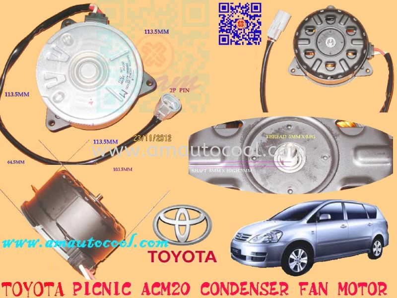 (CDF)   Toyota Picnic ACM20 ND Condenser Fan Condenser Fan Car Air Cond Parts Johor Bahru JB Malaysia Air-Cond Spare Parts Wholesales Johor, JB, 冷气零件批发 Testing Equipment | Am Autocool Electronic Enterprise