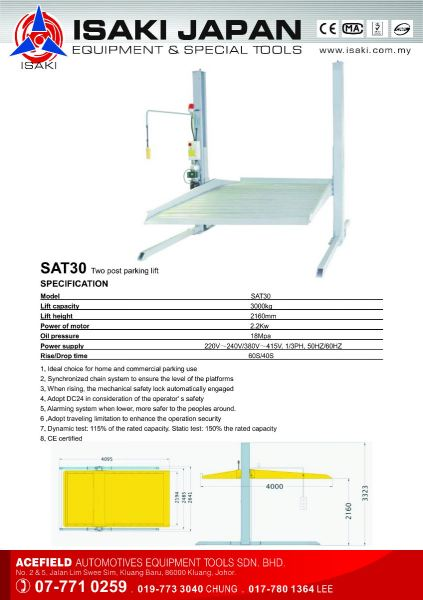 SAT30 Two Post Parking Lift Isaki Japan Post Lift Malaysia Johor Selangor KL Supply Supplier Suppliers | Acefield Automotive Equipment Tools Sdn Bhd