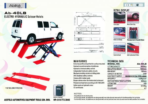 AB - 40LB Electro - Hydraulic Scissor Hoists Abilita Italy Scissor Lift Malaysia Johor Selangor KL Supply Supplier Suppliers | Acefield Automotive Equipment Tools Sdn Bhd