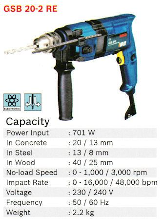 Impact Drill GSB 20-2 RE Bosch Power Tools Johor Bahru (JB), Masai, Pasir Gudang Supply, Supplier, Supplies | Standard Bolts & Tools Sdn Bhd
