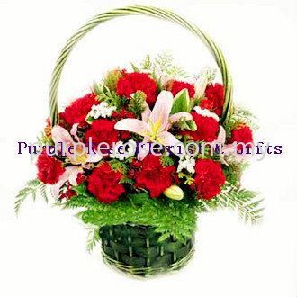 Flowers Basket Set 06(SGD60) Flower Basket Johor Bahru Supply, Supplier, Delivery | Purple Rose Florist & Gifts