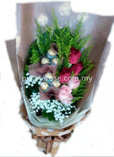 Rocher Bouquet02-Specially For You(SGD48) Rocher/Toy Bouquet Johor Bahru Supply, Supplier, Delivery | Purple Rose Florist & Gifts