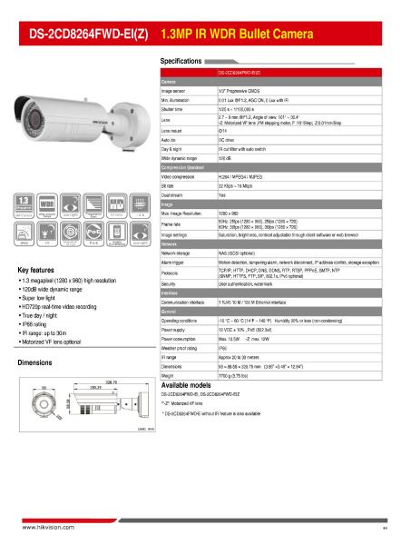 DS-2CD8264FWD-EI(Z) 1.3MP IR WDR Bullet Camera 045 Network Camera HikVision CCTV SYSTEM Kajang, Selangor, Kuala Lumpur (KL), Malaysia. Supplier, Supply, Supplies, Installation | WYA AUTOMATION SYSTEM