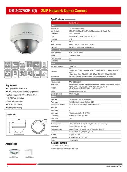 DS-2CD753F-E(I) 2MP Network Dome Camera 052 Network Camera HikVision CCTV SYSTEM Kajang, Selangor, Kuala Lumpur (KL), Malaysia. Supplier, Supply, Supplies, Installation | WYA AUTOMATION SYSTEM