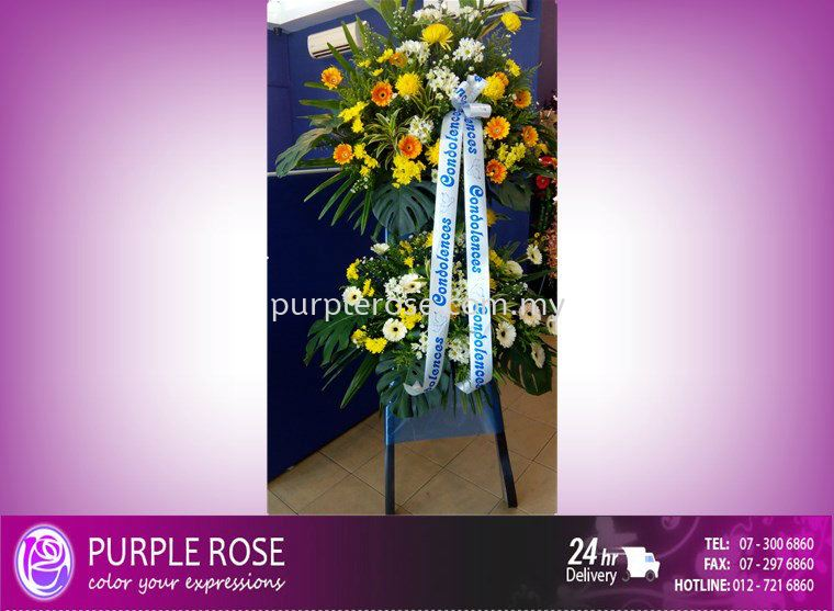 Condolence Sympathy Stand55 (SGD80) Sympathy Johor Bahru Supply, Supplier, Delivery | Purple Rose Florist & Gifts
