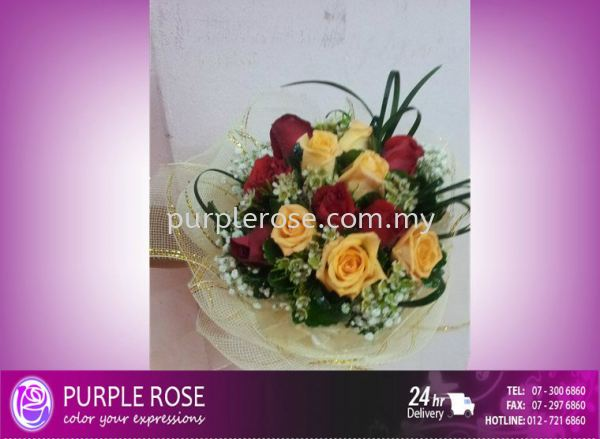 Wedding Bouquet07(SGD40) Wedding/Bridal Bouquet Johor Bahru Supply, Supplier, Delivery | Purple Rose Florist & Gifts