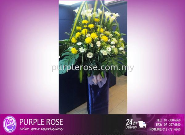 Condolence Sympathy Stand60 (SGD104) Sympathy Johor Bahru Supply, Supplier, Delivery | Purple Rose Florist & Gifts