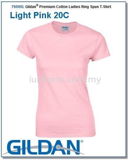 LIGHT PINK (76000L 20C) PREMIUM COTTON - LADIES RING SPUN ROUND NECK GILDAN Johor Bahru (JB), Skudai, Impian Emas Supplier, Manufacturer, One Stop | I Uniform & T Shirt