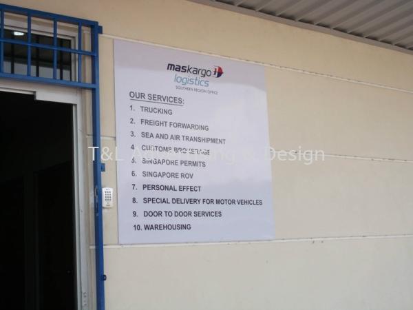Maskargo 3mm white acrylic 4ft x 4ft with Inkjet sticker Acrylic Signage Johor Bahru (JB), Malaysia, Skudai Supplier, Supply, Design, Install | T & L Advertising & Design