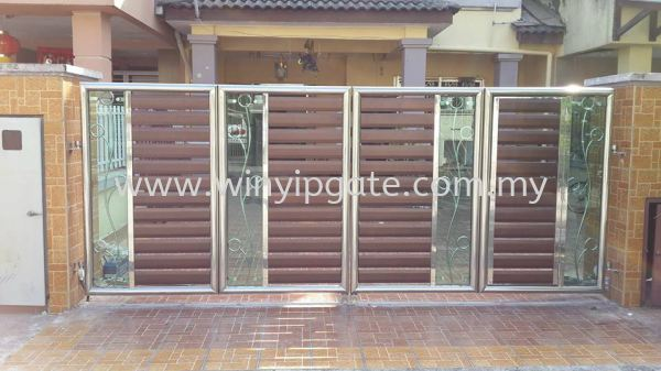 Stainless Steel 13F Folding Gate and Aluminum Wood Plate @ Tempered Stainless Steel 13F Folding Gate and Aluminum Wood Plate @ Tempered Selangor, Malaysia, Balakong, Kuala Lumpur (KL) Service, Supplier, Supply, Installation | Win Yip Gate & Roof Sdn Bhd