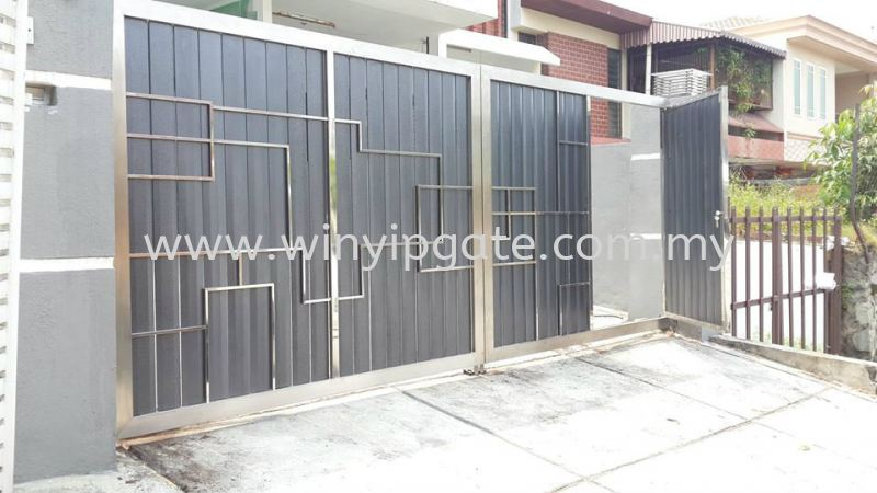 Stainless Steel Swam Main Gate and Aluminum Wood Plate Size 14'-0 Stainless Steel Swam Main Gate and Aluminum Wood Plate Size Selangor, Malaysia, Balakong, Kuala Lumpur (KL) Service, Supplier, Supply, Installation   Win Yip Gate & Roof Sdn Bhd