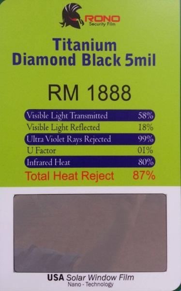 TITANIUM DIAMOND BLACK 5 MIL RONO SECURITY FILM Setapak, Kuala Lumpur, KL, Selangor, Ampang, Kepong, Subang Jaya, Puchong, Cheras, Malaysia. Installation, Supplier, Specialist, Supply | Tint Master