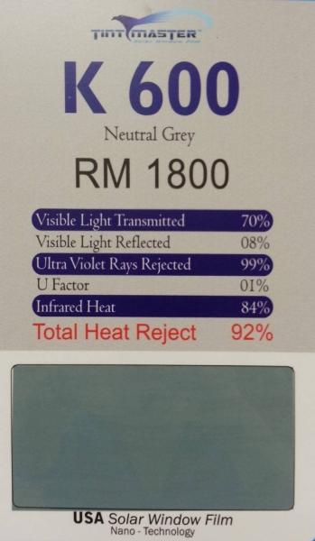 K600 NEUTRAL 2 MIL SOLAR FILM Setapak, Kuala Lumpur, KL, Selangor, Ampang, Kepong, Subang Jaya, Puchong, Cheras, Malaysia. Installation, Supplier, Specialist, Supply | Tint Master