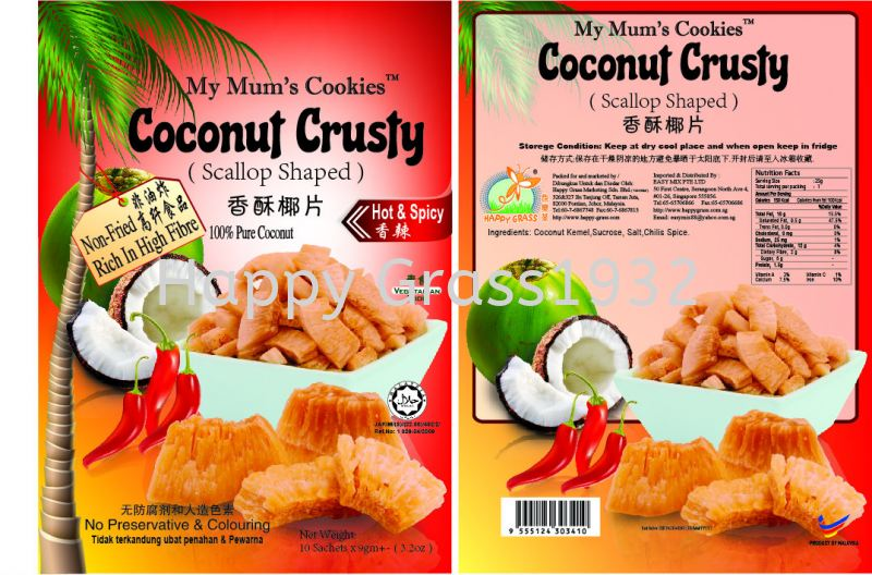 Coconut Crusty With Hot & Spicy Flavor Coconut Crusty Series Johor Bahru, JB, Johor, Malaysia. Supplier, Suppliers, Supply, Supplies, Provider | Happy Grass Products Sdn Bhd