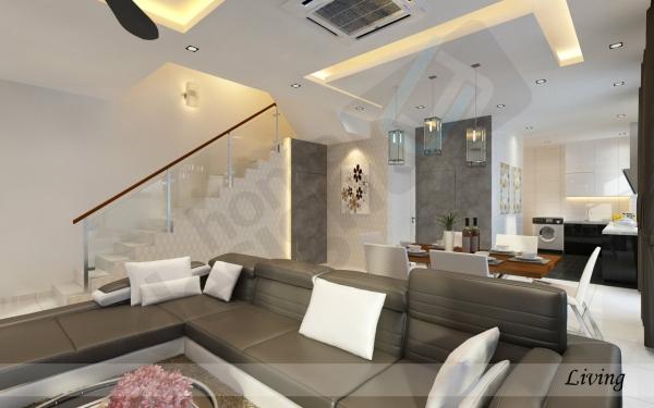 Living Hall Design Johor Bahru (JB), Malaysia Design   LV Construction Design Sdn Bhd