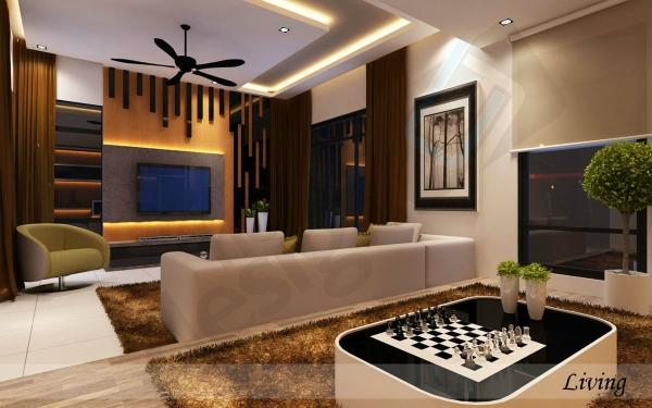 Living Hall Design Johor Bahru (JB), Malaysia Design | LV Construction Design Sdn Bhd