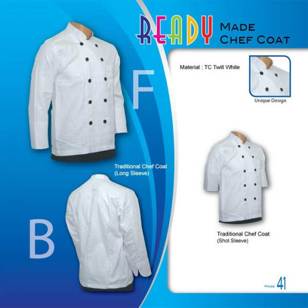 Traditional Chef Coat (Long Sleeve) Chef Coat Ready Made Johor Bahru JB Malaysia Uniforms Manufacturer, Design & Supplier | Pan Uniform Manufacturing Sdn Bhd