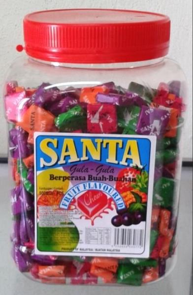 S1 500pcs x 8 jars Santa Fruit Chew Fruit Flavour Chews Candy Santa Selangor, Kuala Lumpur (KL), Malaysia. Wholesaler, Manufacturer, Supplier, Supply | Chong San Industries Sdn Bhd