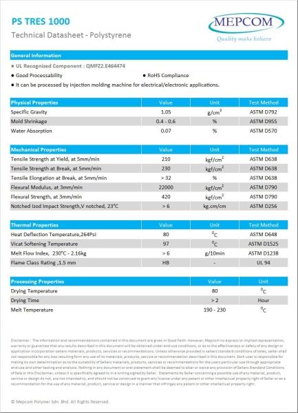 PS TRES 1000 Polystyrene (PS) Malaysia, Johor Bahru (JB) Service, Manufacturer | Mepcom Polymer Sdn Bhd