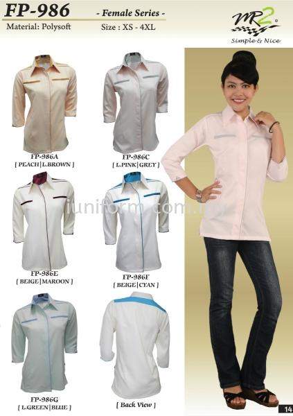 FP-986 SERIES LADIES 3/4 SLEEVE CORPORATE WEAR  Johor Bahru (JB), Skudai, Impian Emas Supplier, Manufacturer, One Stop | I Uniform & T Shirt